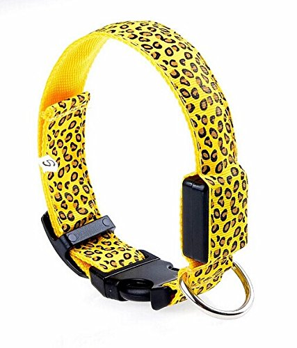 "Kpmall 15.2""-20"" Leopard Pattern Collar LED Dog Puppy Flashing Collar Yellow Color -Medium"