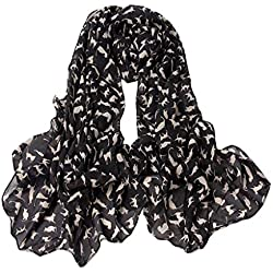 KMG Women Fashion Charming Sexy Cat Pattern Animal Print Shawl Scarf Wrap BLACK