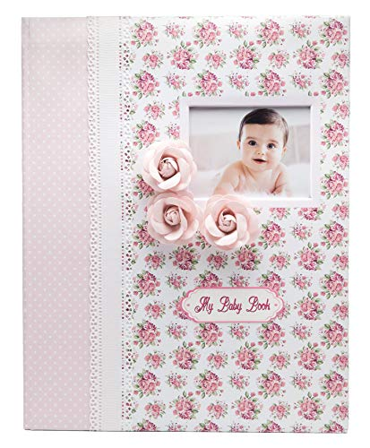 Baby Memory Book – Milestone Journal for Babies – Classic Design for Baby Girl – First 5 Years Scrapbook & Photo Album – Ideal Baby Shower and Mother's Birthday Gift Set