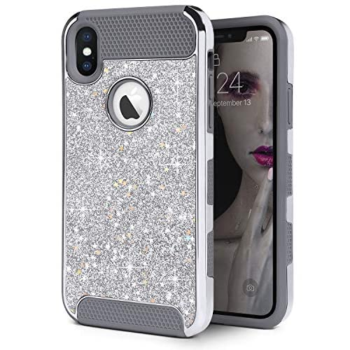 IDweel iPhone Xs Max Case, Slim Fit Hybrid Sparkly Shiny Star Faux Leather Shell Flexible Shock Absorbing TPU Skin Protective Grip Hard Cover for Apple iPhone Xs Max 6.5 Inch, Silver Glitter