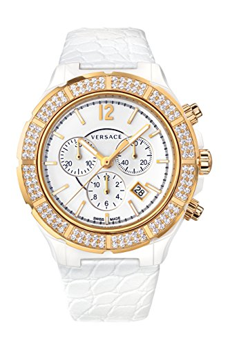Versace Women's 28CCP11D001 S001 DV ONE White Ceramic Case Leather Band Chronograph Diamond Watch