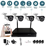 YUCHENG 4CH Auto-Pair 1080P WiFi Wireless NVR Kit System Home Surveilliance Security System with 4 Outdoor Night Vision HD 2.0MP IP Cameras