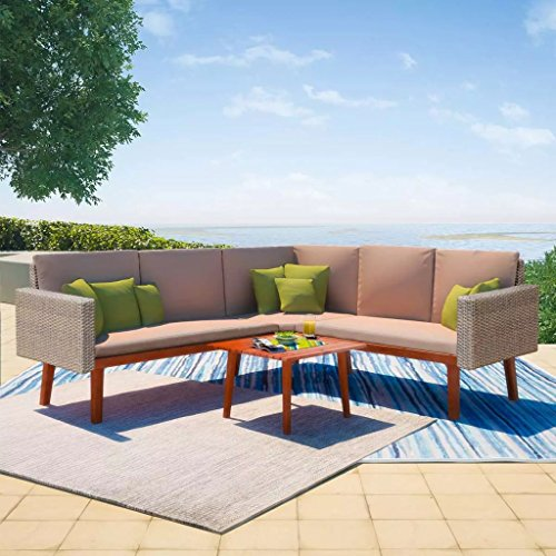 Festnight 4 Piece Outdoor Indoor Garden Sofa Sectional Furniture Set with Coffee Table Poly Rattan Wood Frame Gray