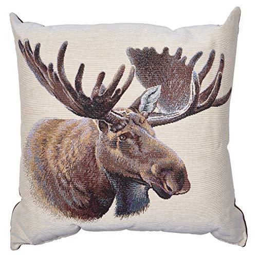 Blue Ridge Trading Moose Jacquard Pillow One Size Brown & White