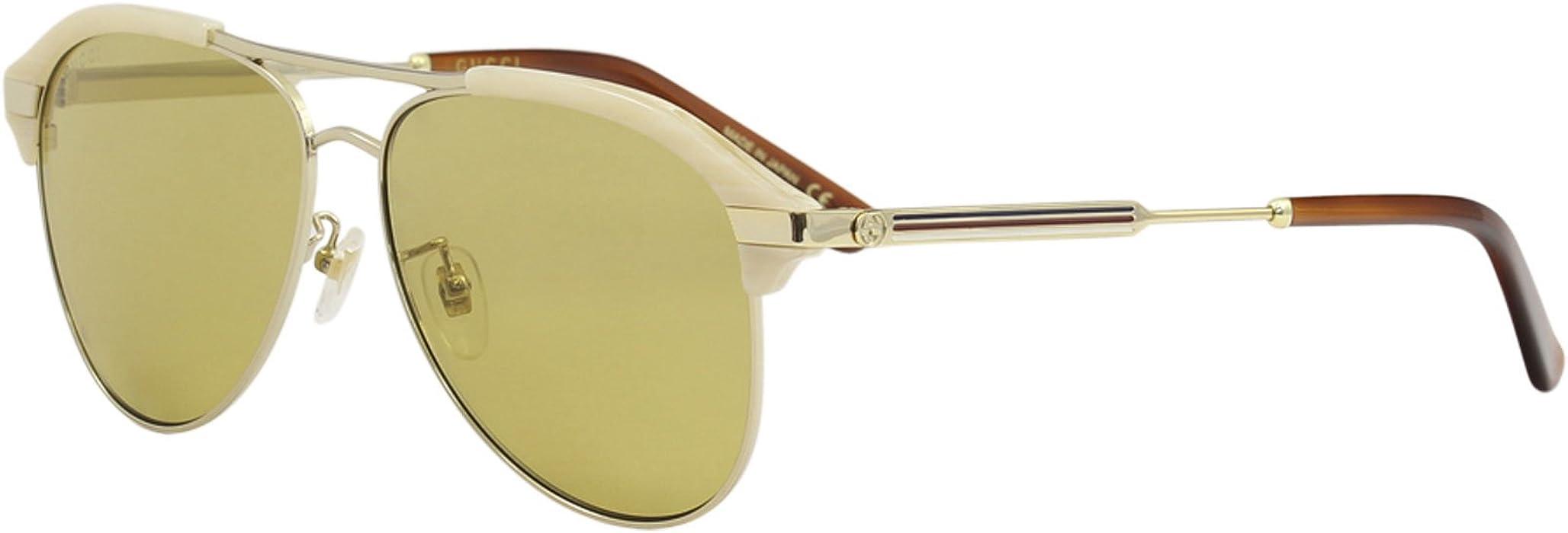 bab8d3fae3818 Amazon.com  Gucci Brown Aviator Sunglasses GG0288SA-004 60  Clothing