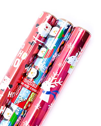 Hallmark Reversible Christmas Wrapping Paper Bundle, Ho Ho Ho Foil (Pack of 3, 60 sq. ft. ttl.)