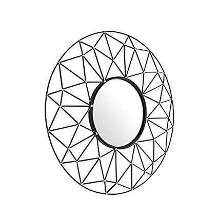Amazon Com Pemberly Row 35 Round Geometric Frame Mirror With Gold
