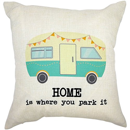 RV Decor Cotton Linen Square Throw Pillow Cover with Quote Home is Where You Park It
