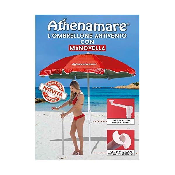 """Ombrellone da Spiaggia Antivento ,resistente al vento con il suo sistema """"Brevettato"""" di facile ancoraggio al suolo unico nel suo genere 1 spesavip"""