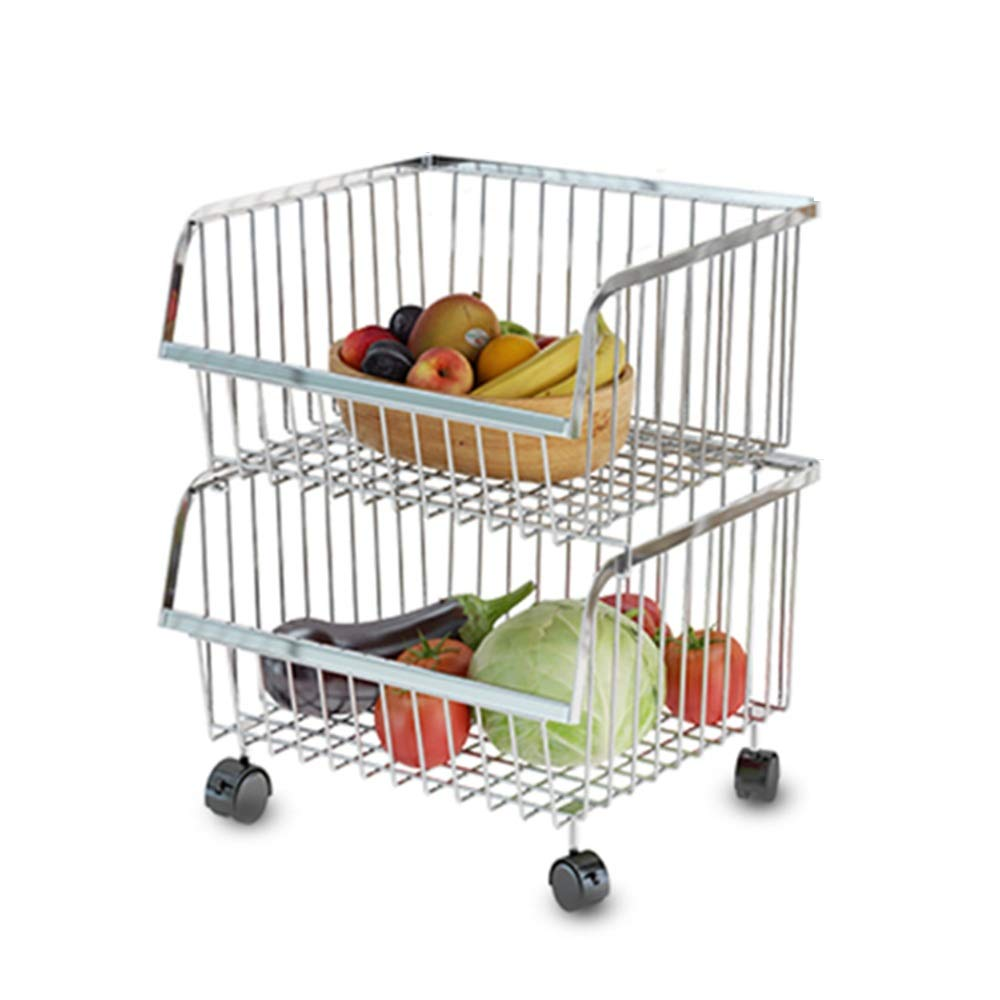 Kitchen shelf HUO Multi-Function Rack 2/4 Layer Removable Storage Cart Thick 304 Stainless Steel Combination Stacking Match Multifunction (Size : 354146.5cm)