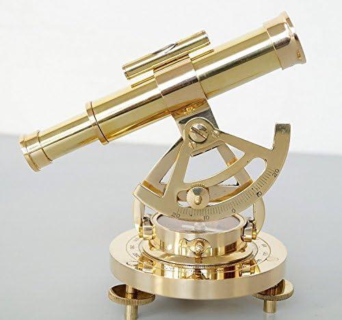 Antique Store Vintage Brass Theodolite Alidade Telescope Compass Instrument Gift Item