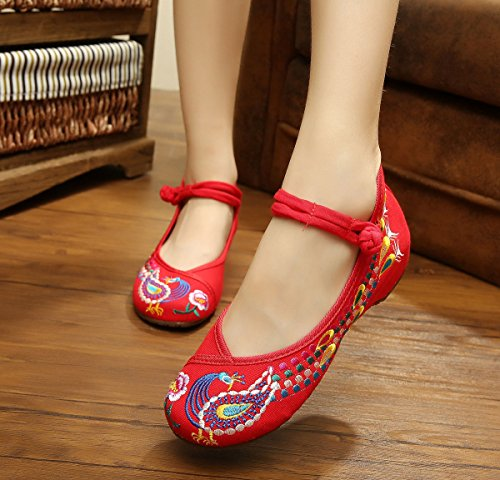 Avacostume Chinese Traditionele Phoenix Patroon Dames Geborduurde Wandelschoenen Rood