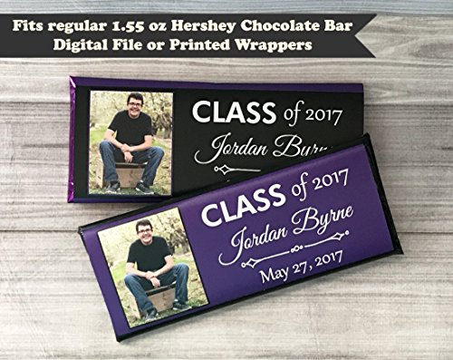 Graduation Photo Personalized Photo Candy Bar Wrapper, Set of 10 College or High School Graduation, School Colors ()