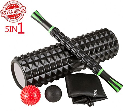 """VIGOKEEPER 18"""" Large Foam Roller Kit,5-IN-1,With Muscle Roller Stick & Massage Balls,Deep Tissue Set off,High Density For Physical Therapy & Yoga Release Train- 1 Year Warranty – DiZiSports Store"""