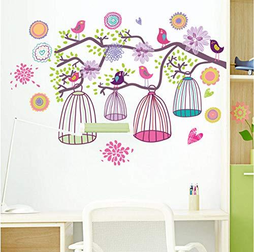 qzheng Branches Bird Cage Wall Sticker Child Baby Room Living Room Bedroom Background Decoration Wallpaper Kindergarten Detachable Sticker 65 X 46Cm