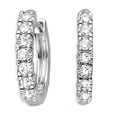 10K White Gold 1/4 ct. Diamond Huggie Earrings