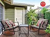 Kozyard Moana Outdoor 3-piece Rocking Wicker Bistro Set, Two Chairs and One Glass Coffee Table, Black Wicker Furniture(Taupe Cushion+Red Stripe Pillow)