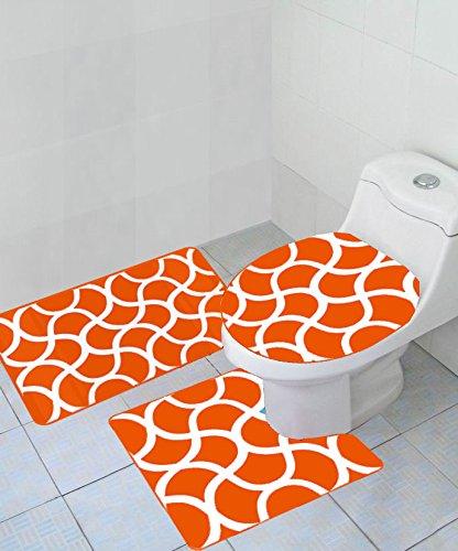 - Empire Home Thick 3 Piece Geometric Wave High Pile Bathroom Set - New Arrival (Orange)