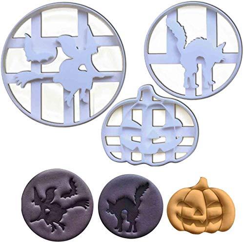 Set of 3 Halloween themed cookie cutters (Designs: Pumpkin, Halloween Witch, and Halloween Cat), 3 pieces - Bakerlogy