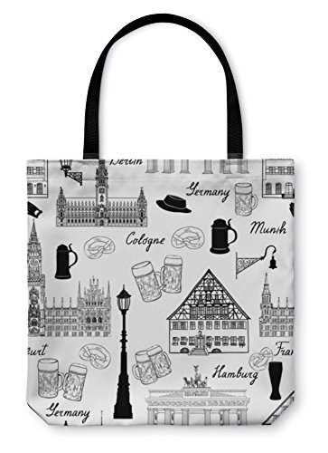 Gear New Shoulder Tote Hand Bag, Famous German Buildings And Landmarks, 18x18, 5565163GN