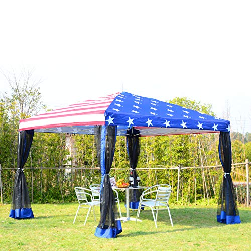 (Festnight Outdoor Garden Easy Pop up Canopy Party Tent with Mesh Walls for Show, Wedding, Camping, Festival, Pavilion, American Flag Print, 10' x 10' )