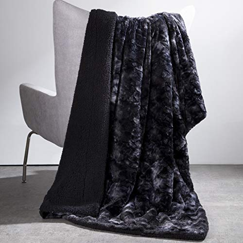 Bedsure Faux Fur Reversible Tie-dye Sherpa Throw Blanket - Super Soft Fuzzy Fluffy Plush Throws, Fleece Blanket for Bed Sofa Couch Chair Fall Winter Spring Living Room(50x60 inches, Black)