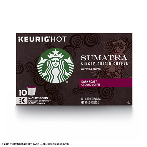 Starbucks Sumatra Dark Roast Single Cup Coffee for Keurig Brewers, 6 Boxes of 10 (60 Total K-Cup pods)