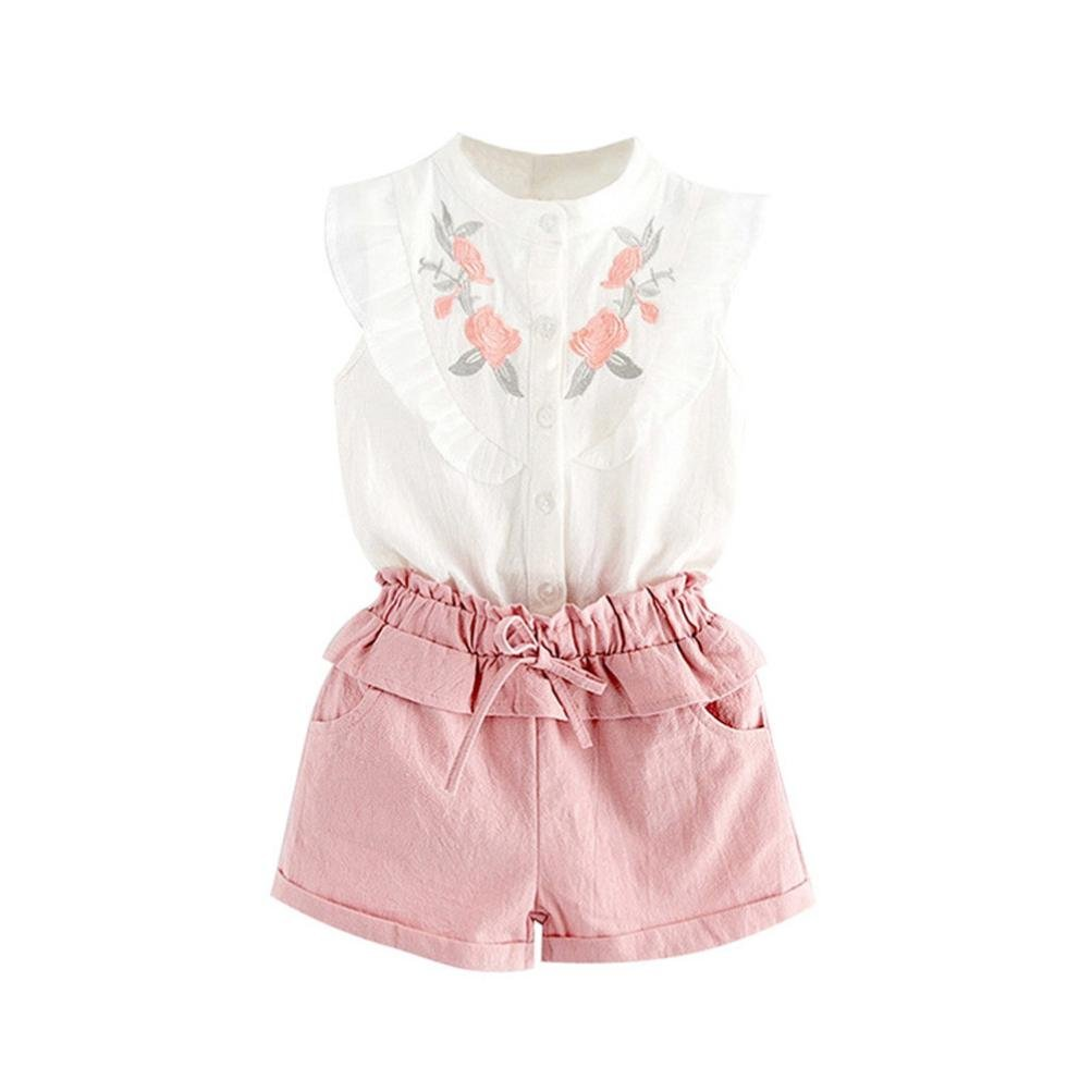 Hatoys 2PCS Toddler Kids Baby Girl Embroidery T-Shirt Tops+Shorts Pants Outfit Set Clothes (5T, White)