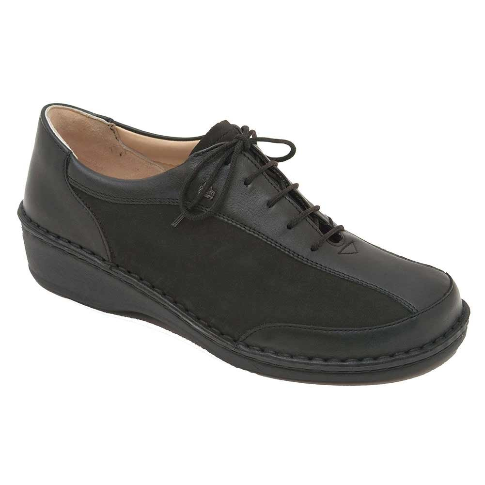Finn Comfort Soft Hanoi Womens Oxfords, Black Nappa/Nubuk, Size - 42