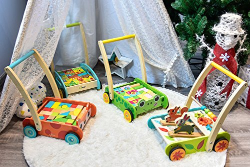 518HfLgyArL - cossy Wooden Baby Learning Walker Toddler Toys for 1 Year Old Forest Theme Blocks & Roll Cart Push & Pull Toy (36 Pcs)