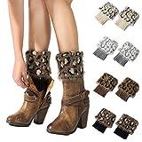 My Decor 4 Pairs Women Boot Cuffs Crochet Knitted Boots Socks Short Leg Warmers, Style 05