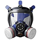 Mufly Full Face Respirator Double Air filter Cartridge Visor Protection Industrial Grade Quality Organic Protection Safety Mask CE Certification (S100 Mask & P-A-1 Filter Set)