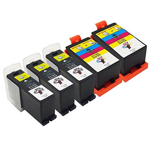 GREENSKY 5 Pack(3 Black & 2 Color) High Yield Compatible Ink Cartridge For Dell Series 21/ 22/ 23/ 24 P513w P713w V313 V313w V715w V515w - High Altitude Chip
