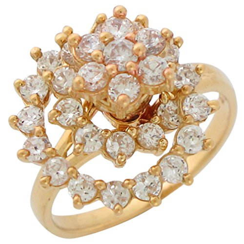 14k Yellow Gold Unique Moving Motion Spinning White CZ Accented Ladies Ring - Yellow Gold Spinning Ring