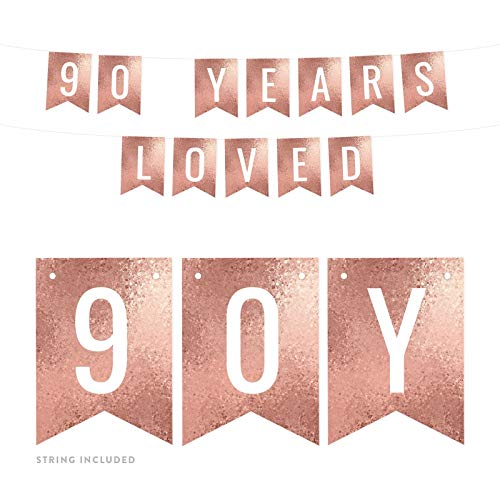 Rose Gold 90 Years Loved Pennant Banner
