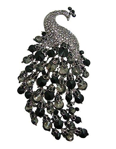Rhinestone Vintage Pins - TTjewelry Art Deco Gorgeous Vintage Black Peacock Crystal Rhinestone Brooch Pins