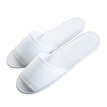 QTT Zapatillas Desechables, Zapatillas Antideslizantes Blancas para Hotel De Hospitalidad para Adultos En Casa (