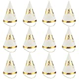 kids party cone hats - Party Hats - 12-Pack Cone Hats for Kids Birthday Party, Celebration Event - Party Accessories, Decorative Party Supplies, Gold Scalloped Trim, 6 x 8.7 x 6.2 Inches, Gold and White
