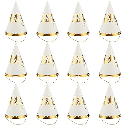 Party Hats - 12-Pack Cone Hats for Kids Birthday Party, Celebration Event - Party Accessories, Decorative Party Supplies, Gold Scalloped Trim, 6 x 8.7 x 6.2 Inches, Gold and White ()