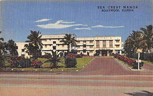 Hollywood Florida Sea Crest Manor Street View Antique Postcard K53229