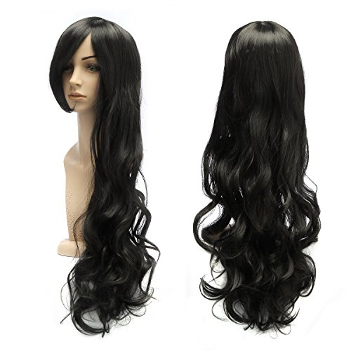 AISHN Wavy Wigs,31.5 inch(80cm) Colorful Long Curly hair Wig with Wig Cap for Cosplay,Party-Black ()