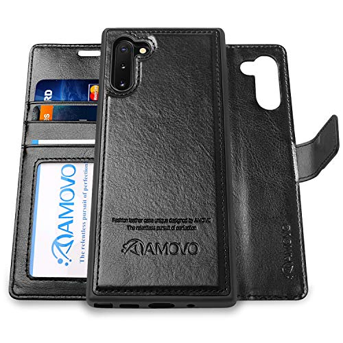 Galaxy Note 10 Wallet Case [2 in 1 Detachable] AMOVO Vegan Leather Case for Samsung Galaxy Note 10 (6.3'') [Wrist Strap] Magnetic Clasp Note 10 Flip Case with Gift Box Package (Note10 (6.3'') Black) (The Best Case For Galaxy Note 3)