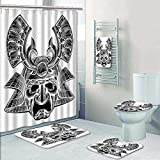 Philip-home 5 Piece Banded Shower Curtain Set Samurai mask Warrior Helmet in a Vintage Woodblock Style Decorate The Bath