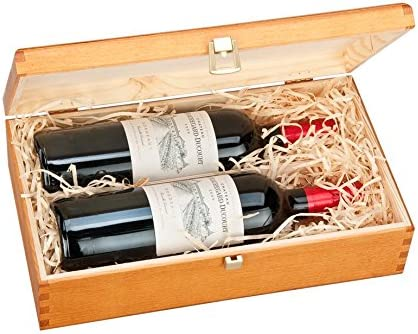 Doble Botella, Caja de Regalo de Lujo de madera para Vino, Cava o Whisky (roble oscuro): Amazon.es: Hogar