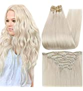 Full Shine Clip in Remy Human Hair Extensions 18 Inch Blonde Clip in Hair Extensions Double Weft ...