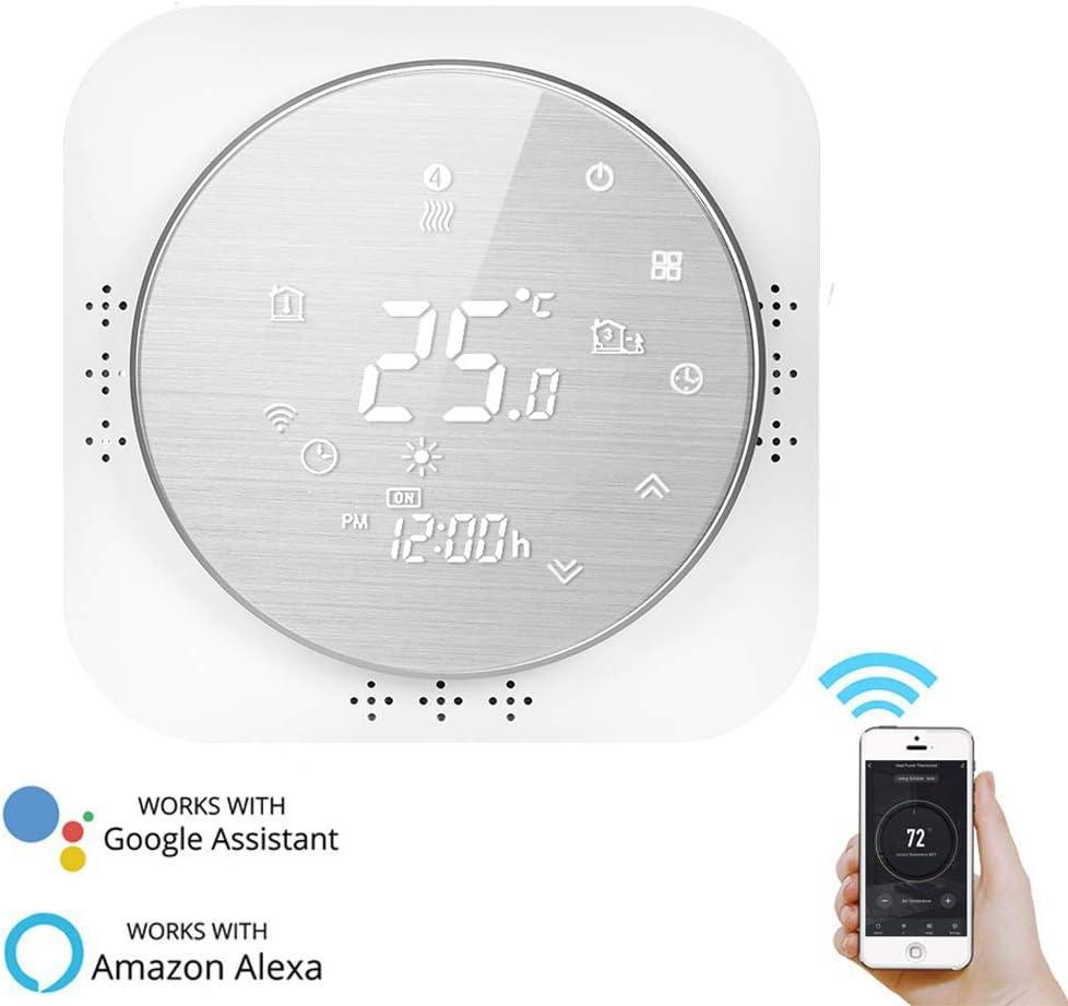 panel cepillado Touch Button retroiluminado programable con Alexa Google Home y tel/éfono APP-blanco termostato inteligente pantalla LCD Termostato WiFi para caldera de gas de pared