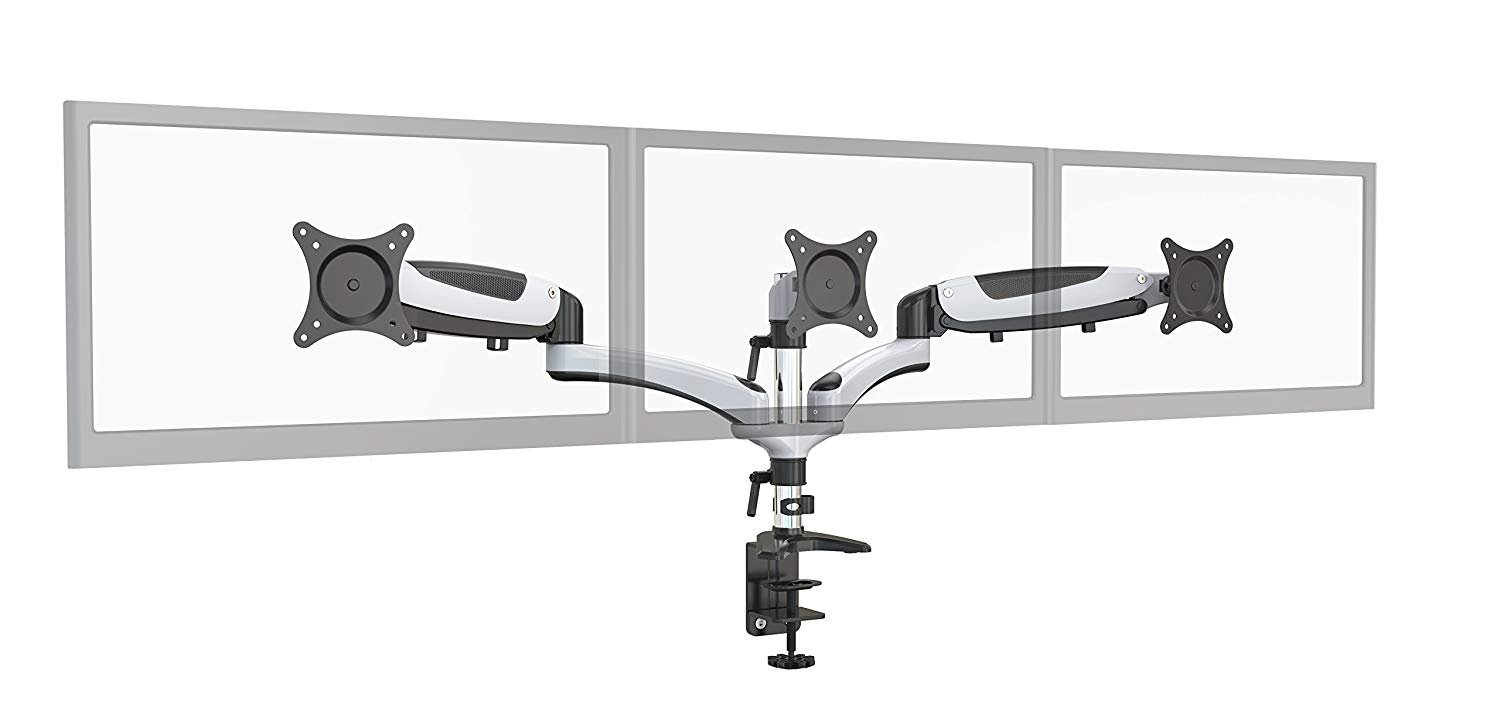 HYDRA Ergonomic Monitor Mount Articulating Arm (15-24, 27, 28 inch displays) 2 Monitor, Imperial White Amer HYDRA3