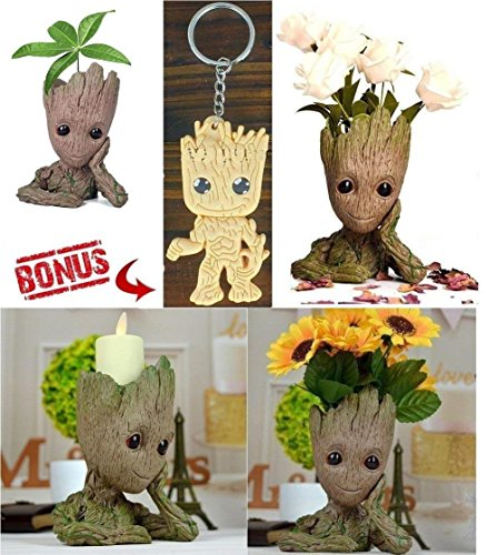 Groot Flower Pot | Flowerpot Groot Cartoon Flowerpot Baby Action Figures Guardians of The Galaxy Green Plants Flower Pot with Hole Pen Holder Best Gifts for Kids