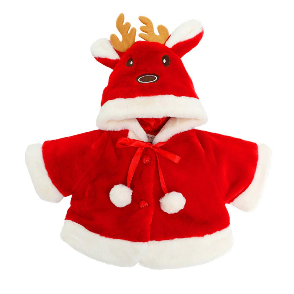 Vovotrade ⚘ 6m-24m Bambino Autunno e Inverno Giacca di Cotone, Abbigliamento per per Baby Costume di Natale Orecchie di alci del Fumetto con Cappuccio Mantello Carino più Velluto Cappotto Spesso