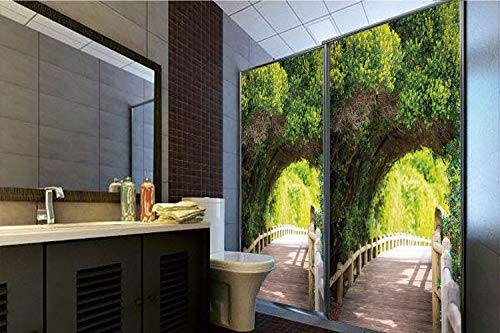 Horrisophie dodo No Glue Static Cling Glass Sticker,Forest,Nature Boardwalk Through Green Archway Bridge Foliage Trees Sunny Summer Day,Beige Green Brown,39.37